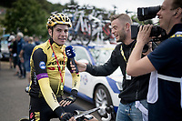 Wout van Aert (BEL/Jumbo - Visma) ready for the descent of La Planche des Belles Filles by bike post-race, but firstly interviewed by former french CX pro Steve Chainel<br /> <br /> Stage 6: Mulhouse to La Planche des Belles Filles (157km)<br /> 106th Tour de France 2019 (2.UWT)<br /> <br /> ©kramon