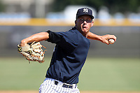 New York Yankees minor league pitcher Evan Rutckyj (57) vs. the Pittsburgh Pirates in an Instructional League game at the New York Yankees Minor League Complex in Tampa, Florida;  October 8, 2010.  Photo By Mike Janes/Four Seam Images