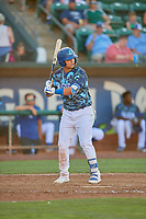 Andy Pages (18) of the Ogden Raptors at bat against the Rocky Mountain Vibes at Lindquist Field on July 19, 2019 in Ogden, Utah. The Raptors defeated the Vibes 9-5. (Stephen Smith/Four Seam Images)