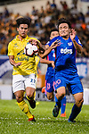 Siwarut Phonhirun of Buriram (L) fights for the ball with Kitchee Defender Kim Bongjin (R) during the Preseason Friendly Match between Kitchee and Buriram United at Mong Kok Stadium on August 18, 2018 in Hong Kong. Photo by Marcio Machado/Photo by Marcio Machado/Power Sport Images