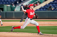 Starting pitcher Garrett Burhenn (7) of the Ohio State Buckeyes in a game against the Illinois Fighting Illini on Friday, March 5, 2021, at Fluor Field at the West End in Greenville, South Carolina. (Tom Priddy/Four Seam Images)