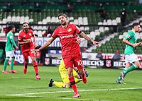 18th May 2020, WESERSTADION, Bremen, Germany; Bundesliga football, Werder Bremen versus Bayer Leverkusen;  Kerem Demirbay (Leverkusen) celebrates his goal which made the game 1-4