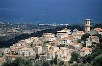 Townscape facing the Mediterranean Sea, Aregno, Corsica, France.