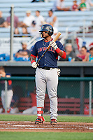 Lowell Spinners first baseman Trey Ganns (28) at bat during a game against the Auburn Doubledays on July 13, 2018 at Falcon Park in Auburn, New York.  Lowell defeated Auburn 8-5.  (Mike Janes/Four Seam Images)