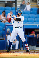 Dunedin Blue Jays first baseman Bradley Jones (20) at bat during a game against the Fort Myers Miracle on April 17, 2018 at Dunedin Stadium in Dunedin, Florida.  Dunedin defeated Fort Myers 5-2.  (Mike Janes/Four Seam Images)
