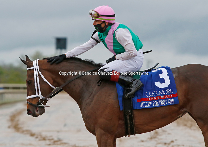 April 10, 2021:  #3 Juliet Foxtrot (GB) and jockey Tyler Gaffalione win the 33rd running of the Coolmore Jenny Wiley Grade 1 $300,000 for owner Juddmonte Farms, and trainer Brad Cox at Keeneland Racecourse in Lexington, KY on April 10, 2021.  Candice Chavez/ESW/CSM