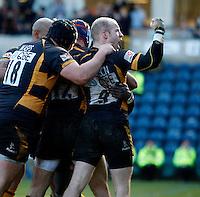 Photo: Richard Lane/Richard Lane Photography. London Wasps v Gloucester Rugby. Aviva Premiership. 17/02/2013. Wasps celebrate a try.