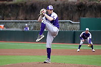 CHAPEL HILL, NC - FEBRUARY 19: Dawson Place #34 of High Point University pitches the ball during a game between High Point and North Carolina at Boshamer Stadium on February 19, 2020 in Chapel Hill, North Carolina.