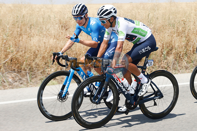 Miguel Angel Lopez Moreno (COL) Movistar Team And White Jersey Egan Bernal (COL) Ineos Grenadiers chat during Stage 5 of La Vuelta d'Espana 2021, running 184.4km from Tarancón to Albacete, Spain. 18th August 2021.    <br /> Picture: Luis Angel Gomez/Photogomezsport | Cyclefile<br /> <br /> All photos usage must carry mandatory copyright credit (© Cyclefile | Luis Angel Gomez/Photogomezsport)