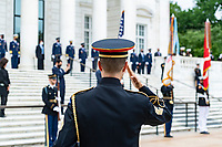 "A member of the U.S. Army Band, ""Pershing's Own"", renders honors durig the National Memorial Day Observance at Arlington National Cemetery, Arlington, Virginia, May 25, 2020. This was the 152nd Memorial Day wreath-laying and observance ceremony at Arlington National Cemetery. (U.S. Army photo by Elizabeth Fraser / Arlington National Cemetery / released)"