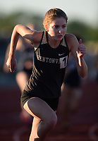 Emily Robinson of Bentonville leads the field Friday, April 30, 2021, as she competes in the 800 meters during the 6A-West Conference Track and Field Meet at the Tiger Athletic Complex in Bentonville. Visit nwaonline.com/210501Daily/ for today's photo gallery. <br /> (NWA Democrat-Gazette/Andy Shupe)