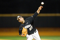 Wake Forest Demon Deacons relief pitcher Niko Spezial (27) in action against the West Virginia Mountaineers at Wake Forest Baseball Park on February 24, 2013 in Winston-Salem, North Carolina.  The Demon Deacons defeated the Mountaineers 11-3.  (Brian Westerholt/Four Seam Images)