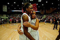 STANFORD, CA--Seniors Nnemkadi Ogwumike and Grace Mashore celebrate senior day during PAC-12 conference play against Utah  at Maples Pavilion. The Cardinal won the matchup against the Utes 69-42.