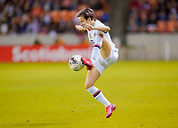 HOUSTON, TX - FEBRUARY 03: Megan Rapinoe #15 of the United States traps the ball during a game between Costa Rica and USWNT at BBVA Stadium on February 03, 2020 in Houston, Texas.