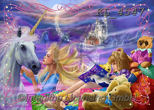 Interlitho-Franco, REALISTIC ANIMALS, REALISTISCHE TIERE, ANIMALES REALISTICOS,fantasy, paintings+++++,girl,unicorn,unicorns, fantasy, dreaming,KL4547,#a#, EVERYDAY,puzzle,puzzles