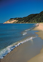 Waves on Lake Michigan along shoreline of the National Lakeshore, scenic coastline. Sleeping Bear Dunes NLS Michigan USA.