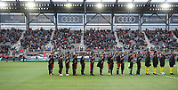 WASHINTON, DC - FEBRUARY 29: Washington, D.C. - February 29, 2020: D.C. United during the signing of the National Anthem. The Colorado Rapids defeated D.C. United 2-1 during their Major League Soccer (MLS)  match at Audi Field during a game between Colorado Rapids and D.C. United at Audi FIeld on February 29, 2020 in Washinton, DC.