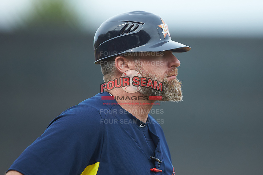 Buies Creek Astros manager Morgan Ensberg (14) coaches third base during the game against the Winston-Salem Dash at BB&T Ballpark on May 5, 2018 in Winston-Salem, North Carolina. The Dash defeated the Astros 6-2. (Brian Westerholt/Four Seam Images)