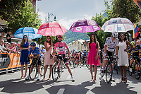 waiting for the Maglia Ciclamino/Fernando Gaviria (COL/Quick-Step Floors) to show up on the start line<br /> <br /> Stage 17: Tirano › Canaze (219km)<br /> 100th Giro d'Italia 2017