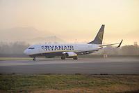 - Boeing 737 aircraft of Ryanair  Airline on Bergamo Orio Al Serio airport<br /> <br /> - aereo di linea  Boeing 737 della compagnia aerea Ryanair sull'aeroporto di Bergamo Orio Al Serio
