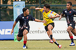 Keeta Punyawut (c) of Thailand battles for the ball during the match between Malaysia and Thailand of the Asia Rugby U20 Sevens Series 2016 on 12 August 2016 at the King's Park, in Hong Kong, China. Photo by Marcio Machado / Power Sport Images