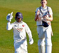 Daniel Bell-Drummond (L) of Kent takes the applause from Zak Crawley as he walks off at the end of play during Kent CCC vs Lancashire CCC, LV Insurance County Championship Group 3 Cricket at The Spitfire Ground on 24th April 2021
