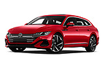 Stock pictures of low aggressive front three quarter view of 2021 Volkswagen Arteon-SB R-Line 5 Door Wagon Low Aggressive
