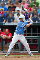 North Carolina catcher Brian Holberton (10) at bat during Game 3 of the 2013 Men's College World Series against the North Carolina State Wolfpack at TD Ameritrade Park on June 16, 2013 in Omaha, Nebraska. The Wolfpack defeated the Tar Heels 8-1. (Andrew Woolley/Four Seam Images)