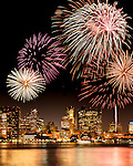 Fireworks over Boston Harbor, Boston, USA