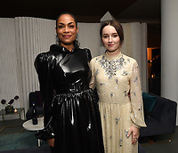 """NEW YORK CITY - OCTOBER 4: Rosario Dawson and Kaitlin Dever attend the red carpet premiere of Hulu's """"DOPESICK"""" at the Museum of Modern Art on October 4, 2021 in New York City. . (Photo by Frank Micelotta/Hulu/PictureGroup)"""