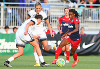 Boyds, MD - Saturday May 07, 2016: Washington Spirit forward Crystal Dunn (19) dribbles past Portland Thorns FC defender Emily Menges (4) during a regular season National Women's Soccer League (NWSL) match at Maureen Hendricks Field, Maryland SoccerPlex. Washington Spirit tied the Portland Thorns 0-0.