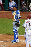 Kansas City Royals catcher Salvador Perez during the MLB All-Star Game on July 14, 2015 at Great American Ball Park in Cincinnati, Ohio.  (Mike Janes/Four Seam Images)