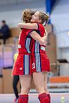 Mannheim, Germany, December 01: During the Bundesliga indoor women hockey match between Mannheimer HC and Nuernberger HTC on December 1, 2019 at Irma-Roechling-Halle in Mannheim, Germany. Final score 7-1. Leah Loersch #14 of Mannheimer HC, Jule Kosswig #23 of Mannheimer HC<br /> <br /> Foto © PIX-Sportfotos *** Foto ist honorarpflichtig! *** Auf Anfrage in hoeherer Qualitaet/Aufloesung. Belegexemplar erbeten. Veroeffentlichung ausschliesslich fuer journalistisch-publizistische Zwecke. For editorial use only.