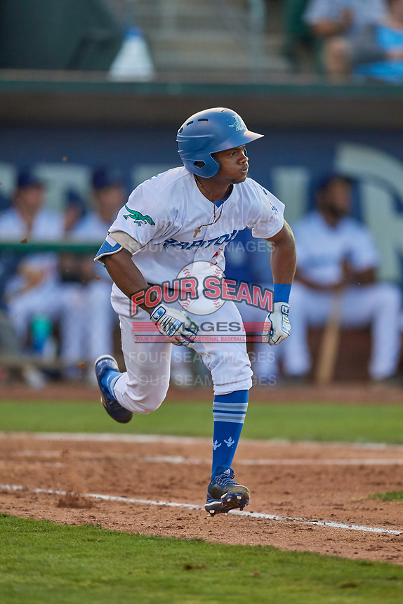 Aldrich De Jongh (5) of the Ogden Raptors hustles to first base against the Grand Junction Rockies at Lindquist Field on August 28, 2019 in Ogden, Utah. The Rockies defeated the Raptors 8-5. (Stephen Smith/Four Seam Images)