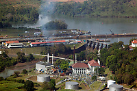 aerial photograph of the Miraflores Locks from the Planta Termoelectrica power plant, Panama Canal, Panama | fotografía aérea de las Esclusas de Miraflores