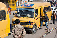Kathmandu, Nepal.  Minibuses Provide City Transportation.