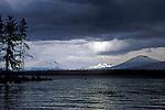 Afternoon thunderstorm over Crane Prairie Reservoir, South Sister, Broken Top and Mount Bachelor; Deschutes National Forest, Oregon.