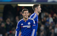 Eden Hazard of Chelsea smiles as the final whistle is blown during the UEFA Champions League Group G match between Chelsea and Dynamo Kyiv at Stamford Bridge, London, England on 4 November 2015. Photo by Andy Rowland.