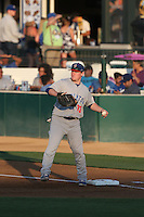 John Nogowski (33) of the Stockton Ports at first base between innings of a game against the Rancho Cucamonga Quakes at LoanMart Field on June 13, 2015 in Rancho Cucamonga, California. Stockton defeated Rancho Cucamonga, 14-2. (Larry Goren/Four Seam Images)