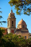 Towers of the church of San Martimo, Érice, Erice, Sicily stock photos.