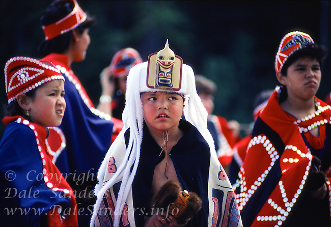 First Nations Dancers from Prince Rupert area perform native cultural dances in traditional costumes, British Columbia, Canada.                No Releases