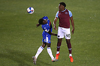 Oladapo Afolayan of West Ham United and Miquel Scarlett of Colchester United during Colchester United vs West Ham United Under-21, EFL Trophy Football at the JobServe Community Stadium on 29th September 2020