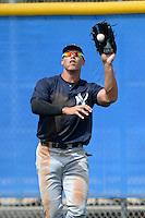 Outfielder Aaron Judge (80) of the New York Yankees organization during a minor league spring training game against the Toronto Blue Jays on March 16, 2014 at the Englebert Minor League Complex in Dunedin, Florida.  (Mike Janes/Four Seam Images)