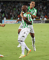 MEDELLIN - COLOMBIA -21-05-2014: John Valoy  jugador de Atletico Nacional celebra su gol anotado contra el  Atletico Junior  durante partido de la final de la Liga Postobon I 2014, jugado en el estadio Atanasio Girardot de la ciudad de Medellin. /John Valoy  player of Atletico Nacional celebrates a goal scored during a match for the final of the Liga Postobon I 2014 at the Atanasio Girardot stadium in Medellin city. Photo: VizzorImage  / Felipe Caicedo / Staff