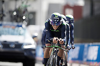 Team Movistar in the last kilometer before the finish<br /> <br /> Elite Men's Team Time Trial<br /> UCI Road World Championships Richmond 2015 / USA