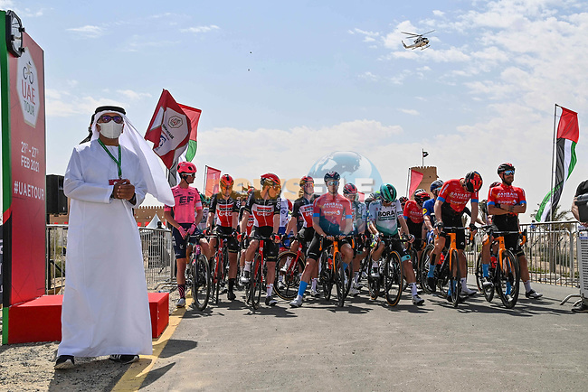 H.E. Aref Hamad Al Awani, General Secretary of Abu Dhabi Sports Council was present at the start of Stage 1 of the 2021 UAE Tour the ADNOC Stage running 176km from Al Dhafra Castle to Al Mirfa, Abu Dhabi, UAE. 21st February 2021.  <br /> Picture: LaPresse/Gian Mattia D'Alberto | Cyclefile<br /> <br /> All photos usage must carry mandatory copyright credit (© Cyclefile | LaPresse/Gian Mattia D'Alberto)
