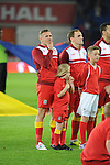 FIFA 2014 World Cup Qualifying Match - Wales v Macedonia at the Cardiff City Stadium : Craig Bellamy lines up before kick off.