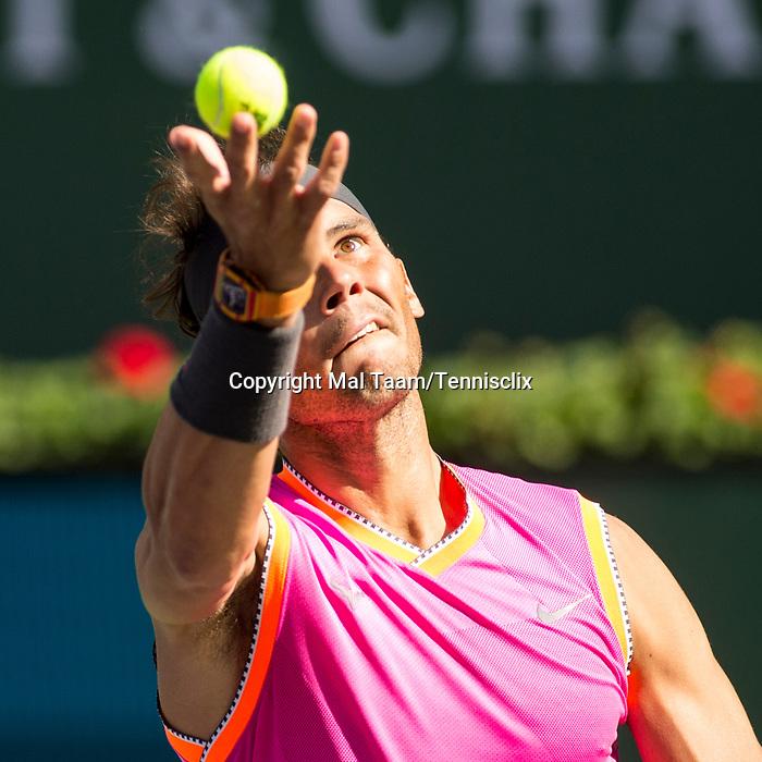 March 15, 2019: Rafael Nadal (ESP) in action where he defeated Karen Khachanov (RUS) 7-6, 7-6 at the BNP Paribas Open at the Indian Wells Tennis Garden in Indian Wells, California. ©Mal Taam/TennisClix/CSM