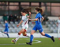 Luna Vanzeir (10) of OHL and Jorien Voets (20) of KRC Genk in action during a female soccer game between Oud Heverlee Leuven and Racing Genk on the 14 th matchday of the 2020 - 2021 season of Belgian Womens Super League , sunday 28 th of February 2021  in Heverlee , Belgium . PHOTO SPORTPIX.BE | SPP | SEVIL OKTEM