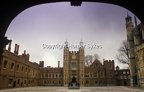 Eton College school buildings. The quadrangle and clock tower.